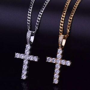 Mens Diamond Cross Necklace CZ Cuban Link Necklace